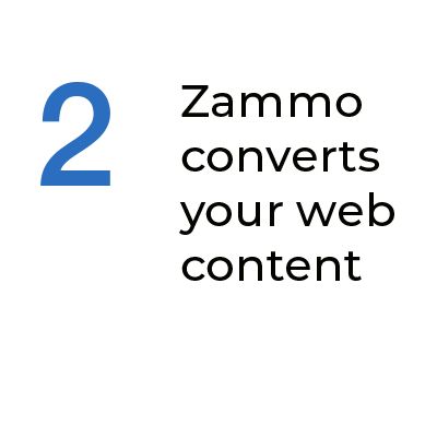Step 2 Zammo converts your web content